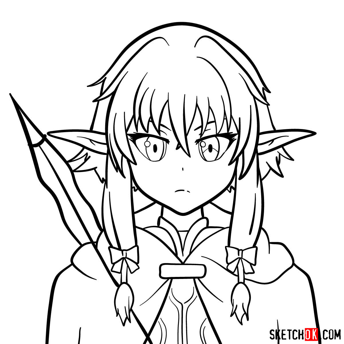 How to draw the she elv scout from Goblin Slayer anime - step 13