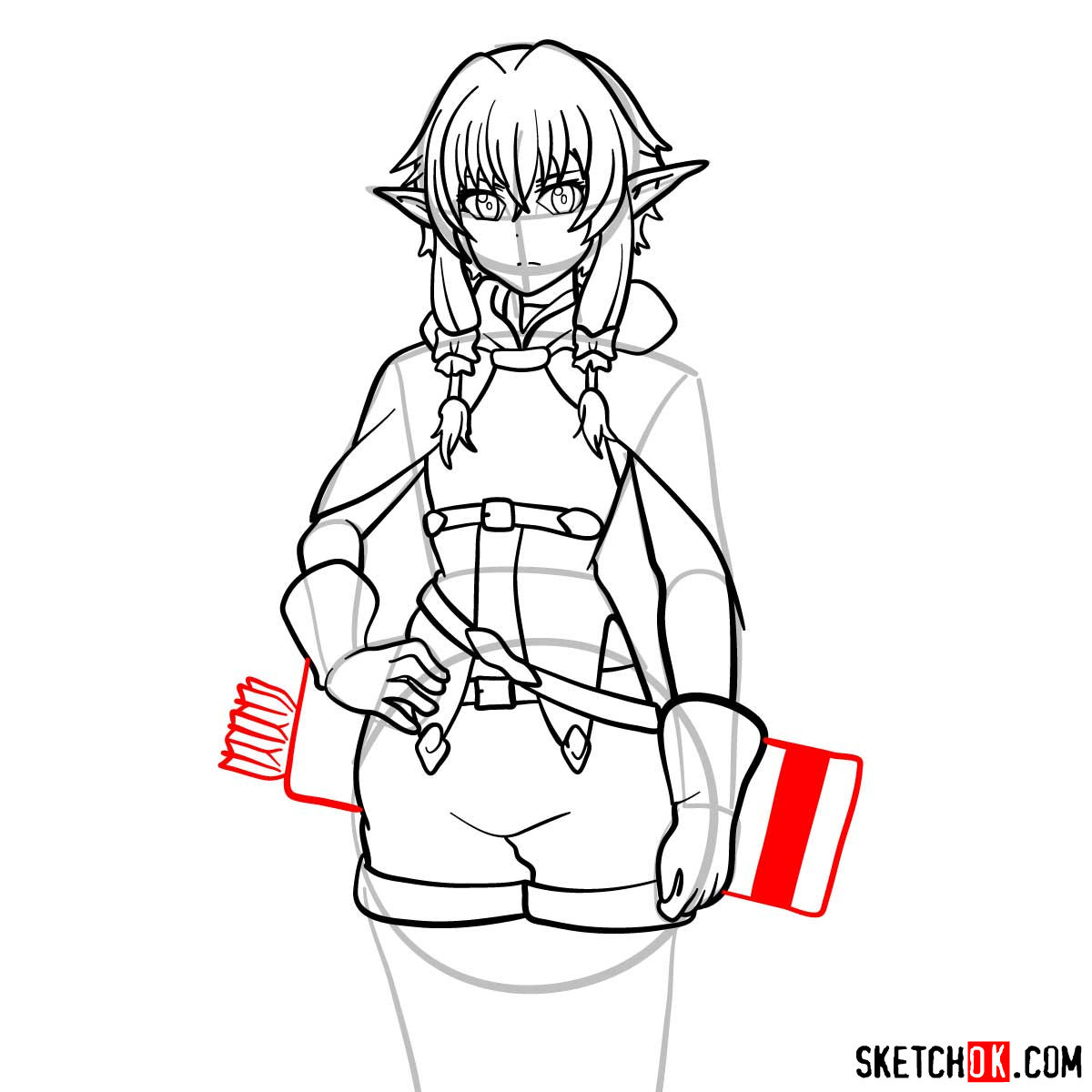 20 steps drawing tutorial of High Elf Archer (Goblin Slayer) - step 14