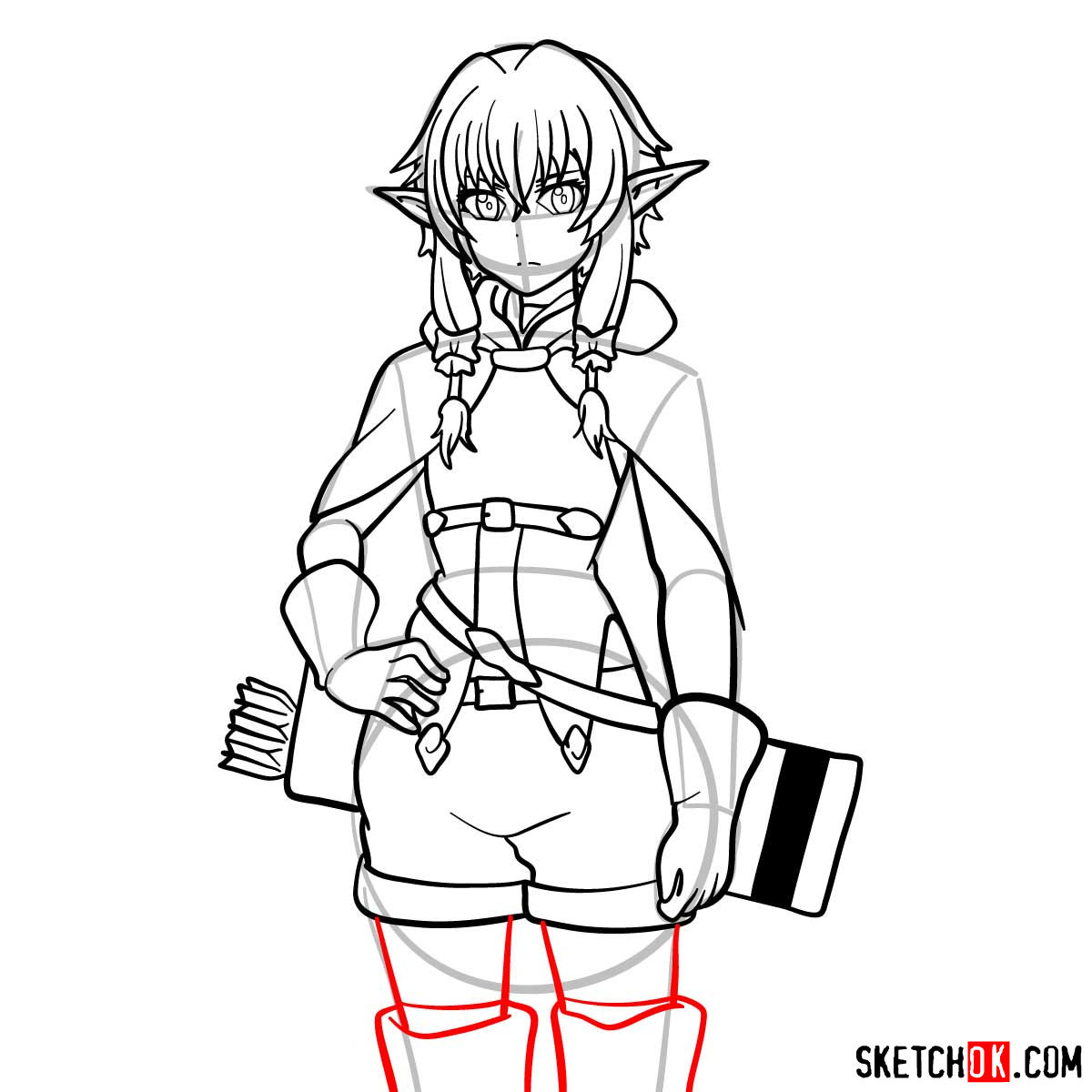 20 steps drawing tutorial of High Elf Archer (Goblin Slayer) - step 15