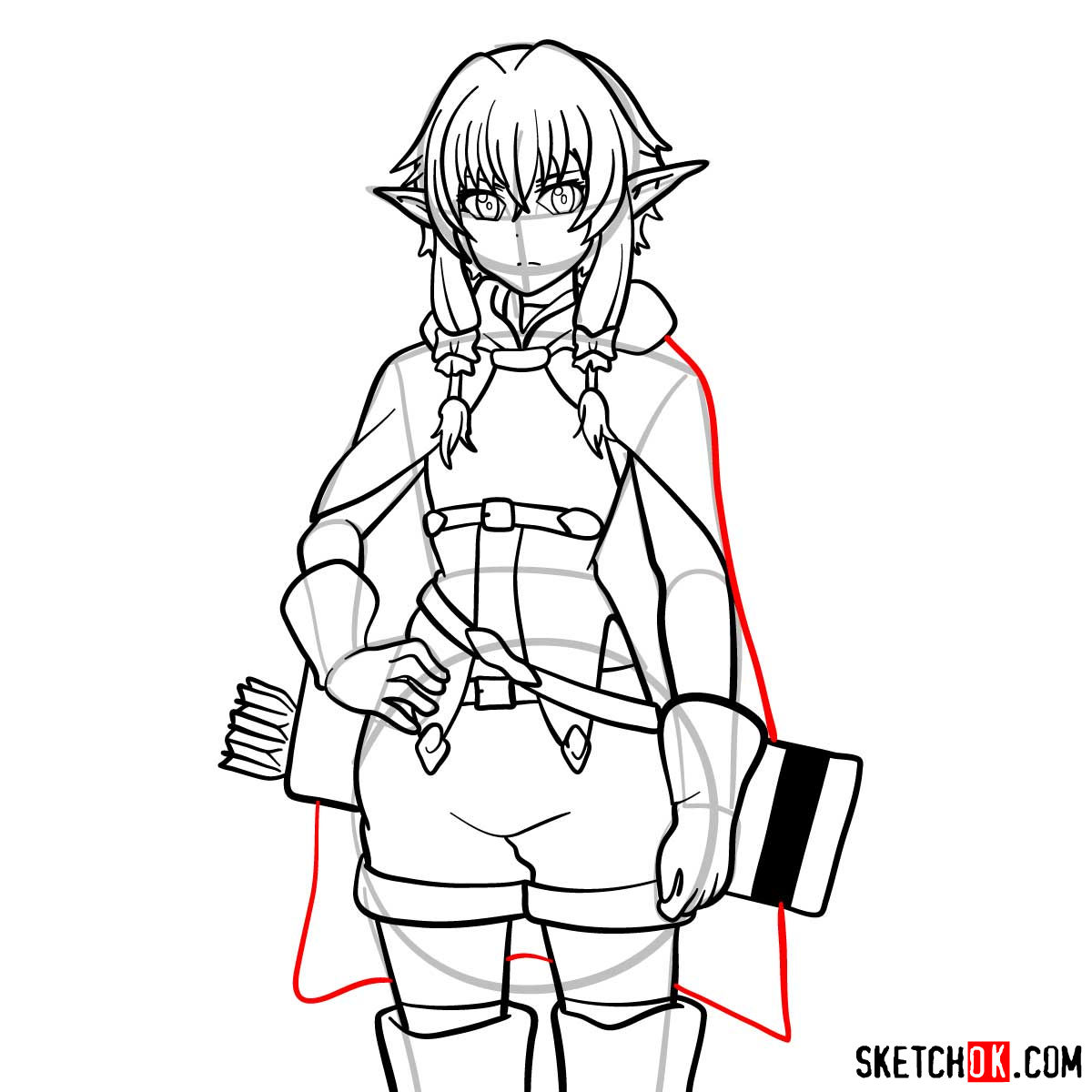 20 steps drawing tutorial of High Elf Archer (Goblin Slayer) - step 16
