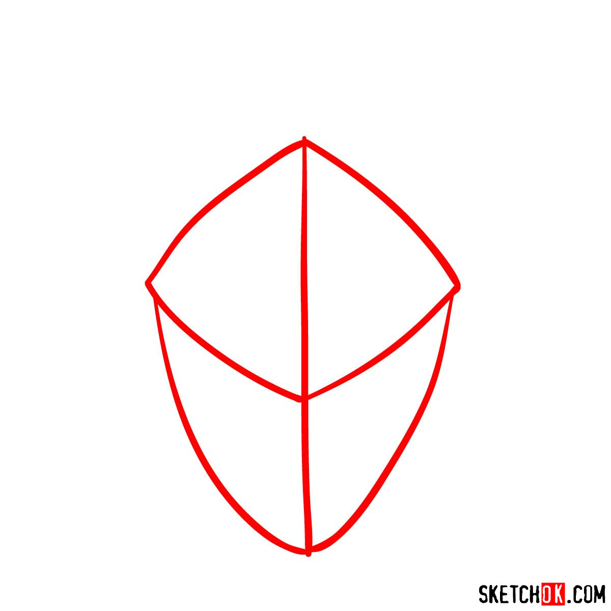 How to draw the mask of Goblin Slayer - step 01