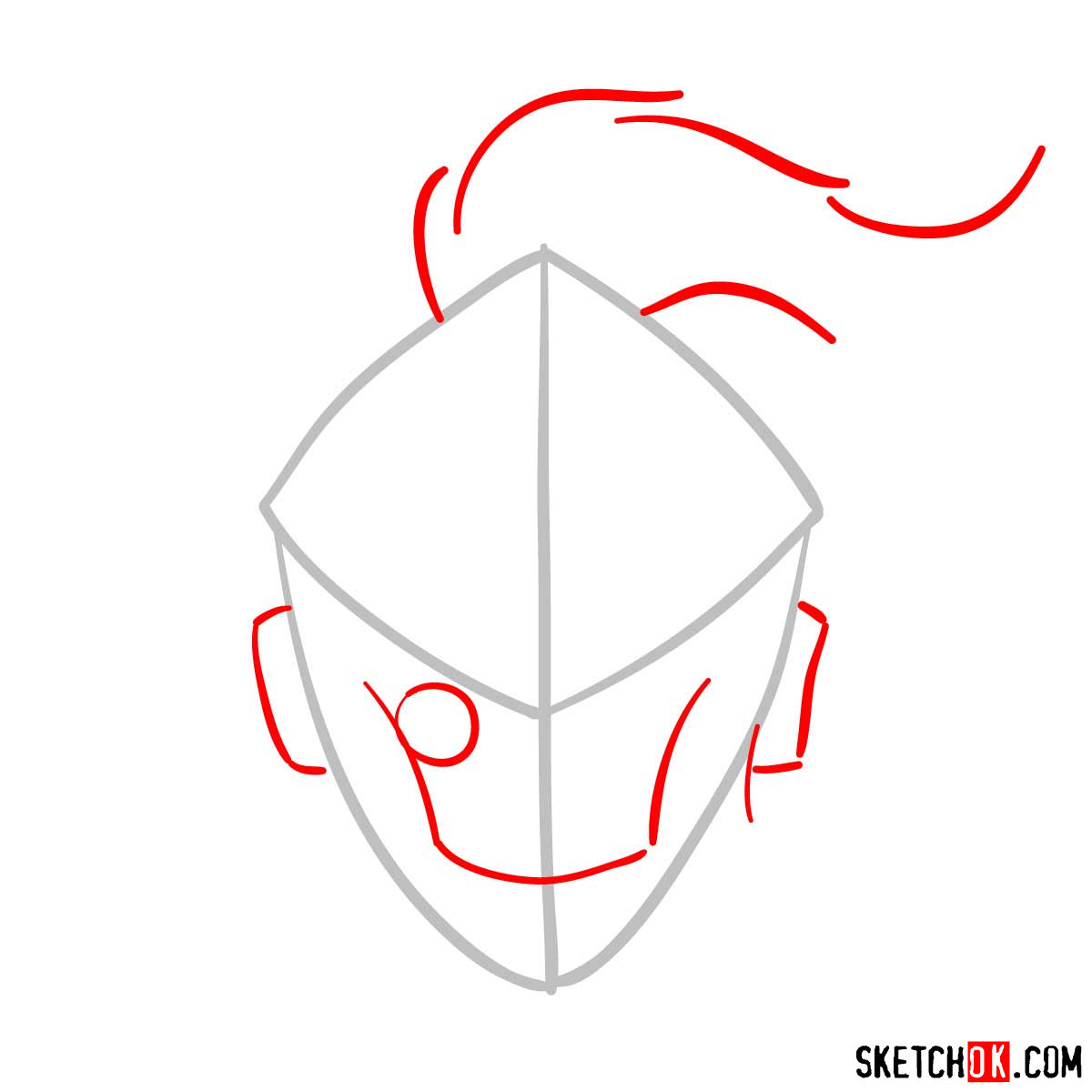 How to draw the mask of Goblin Slayer - step 02