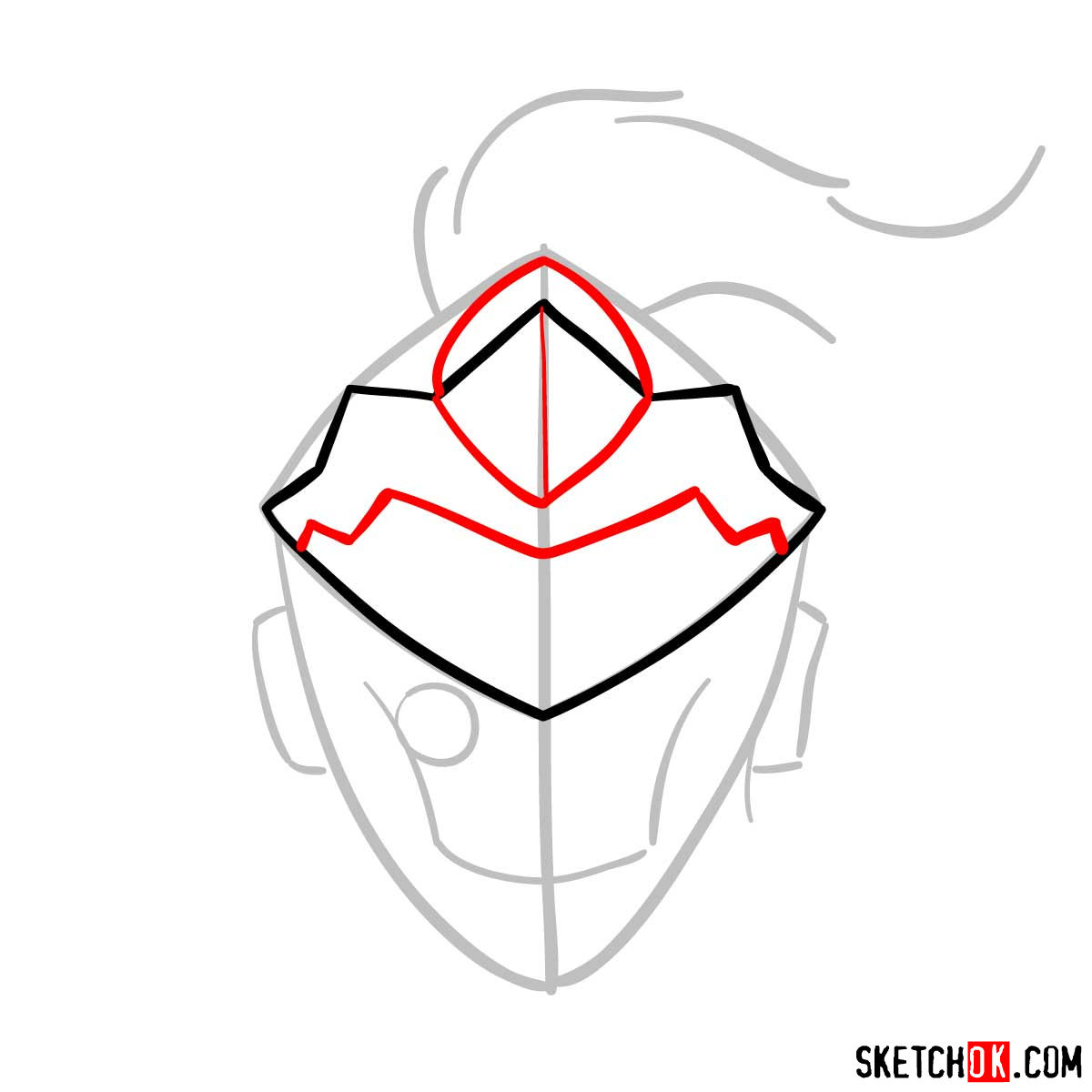 How to draw the mask of Goblin Slayer - step 04