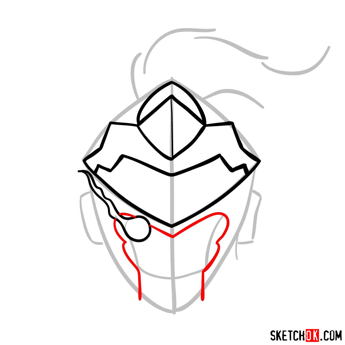 How to draw the mask of Goblin Slayer - step 06
