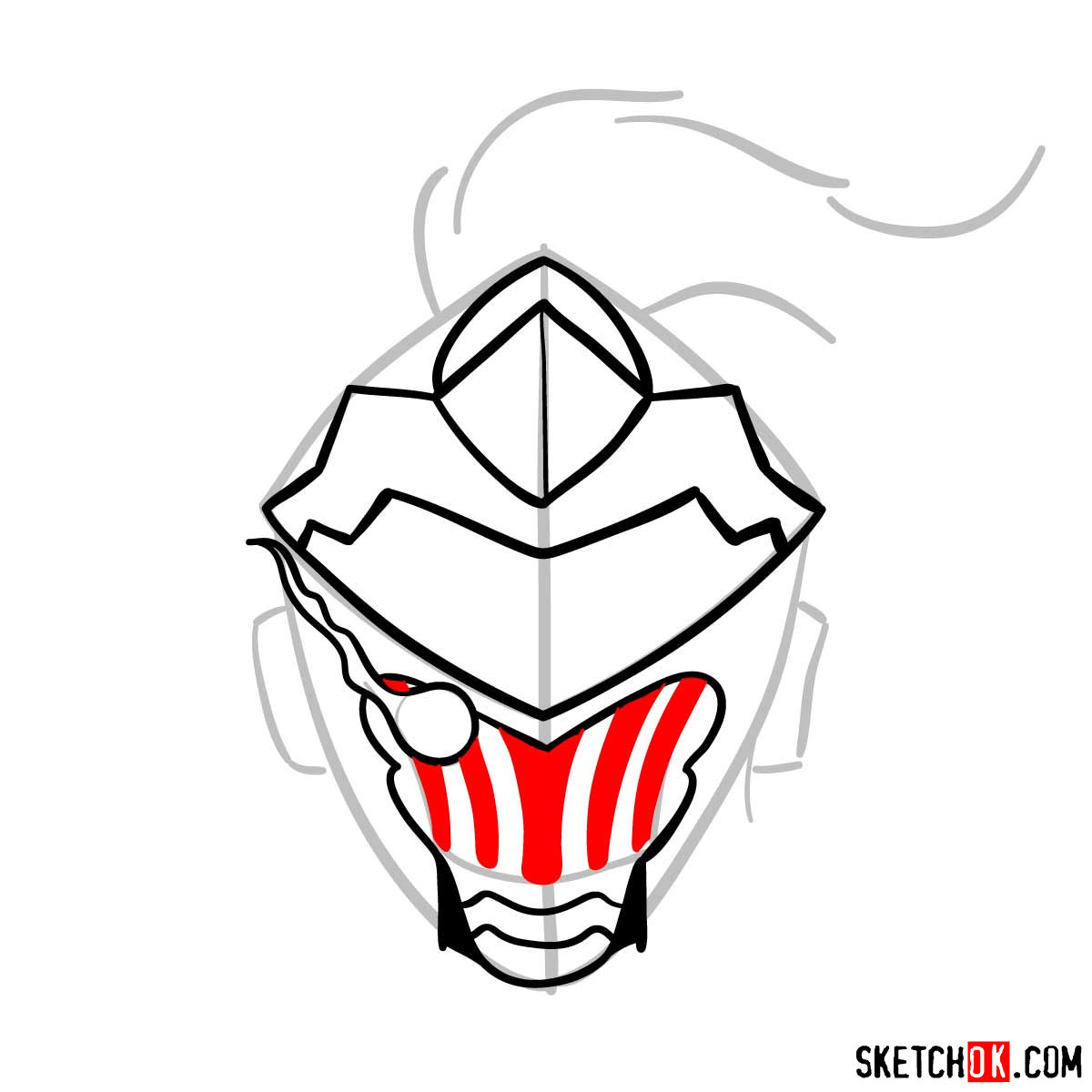 How to draw the mask of Goblin Slayer - step 08