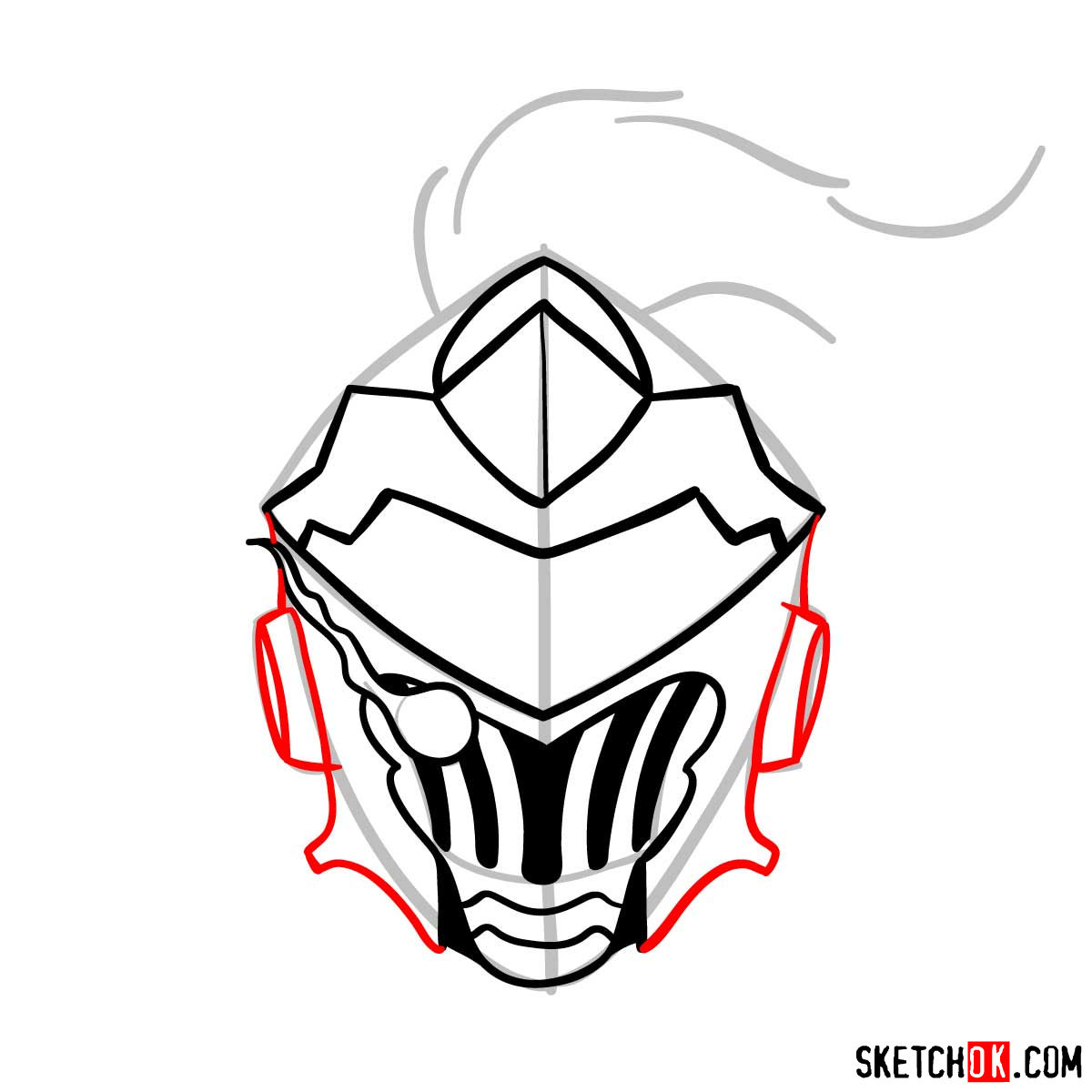 How to draw the mask of Goblin Slayer - step 09