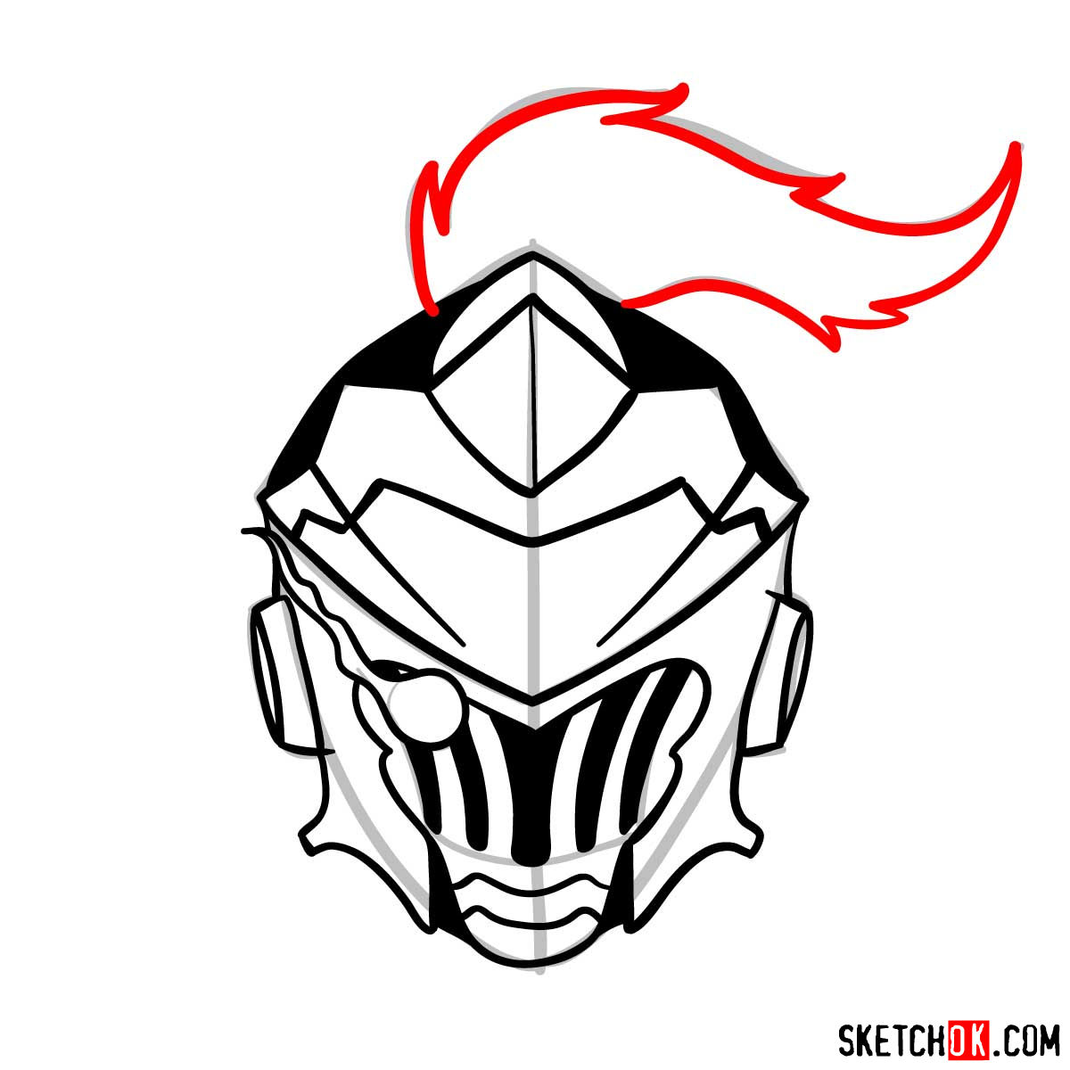 How to draw the mask of Goblin Slayer - step 11