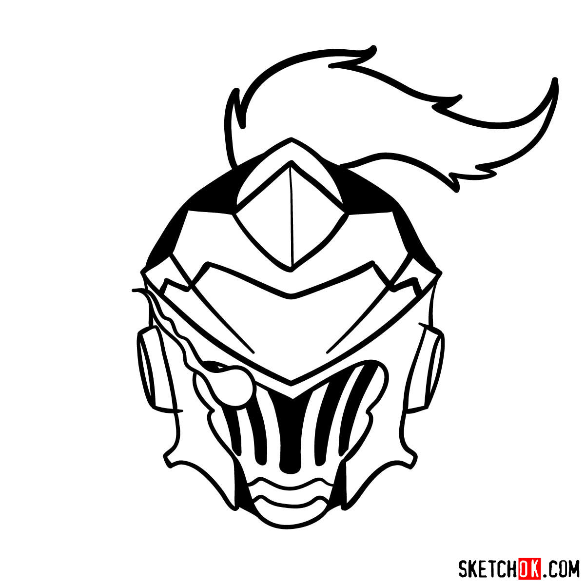 How to draw the mask of Goblin Slayer - step 12