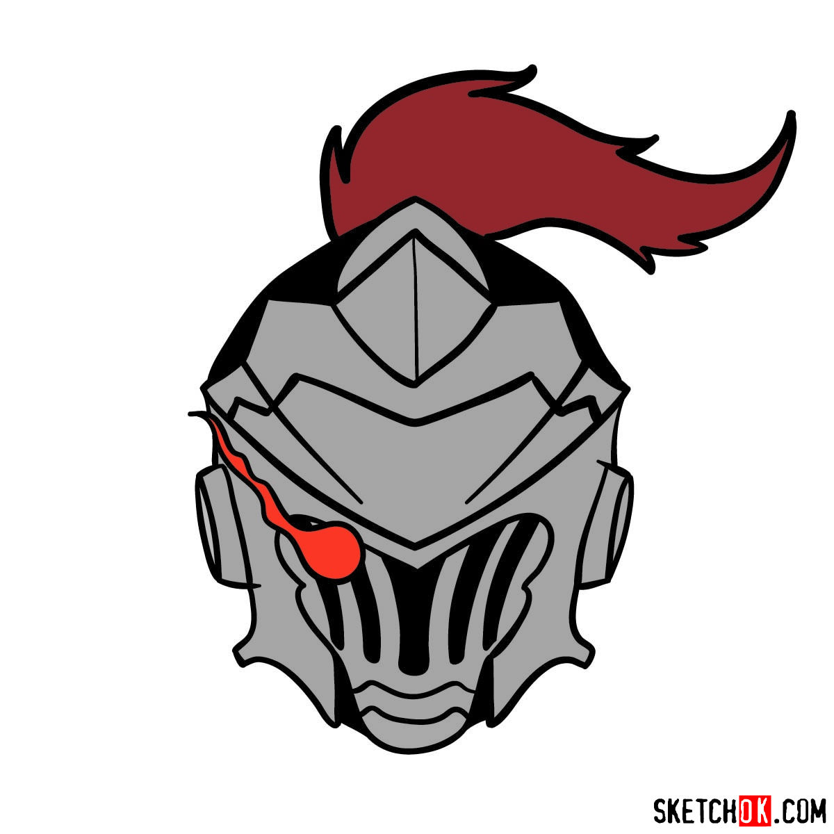 How to draw the mask of Goblin Slayer - step 13