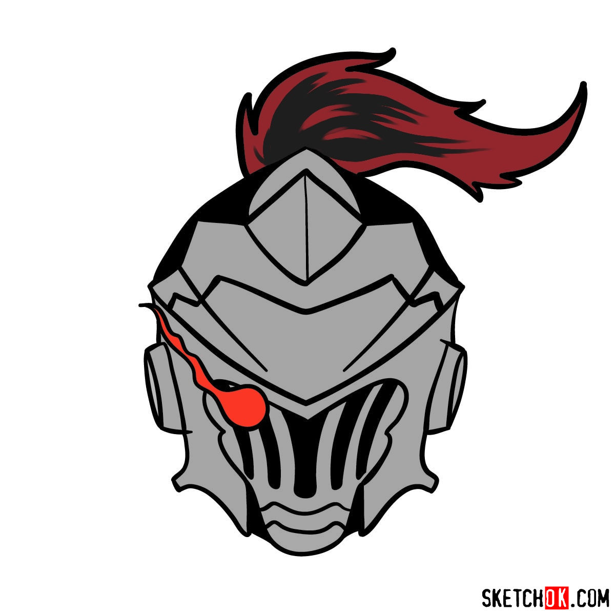 How to draw the mask of Goblin Slayer