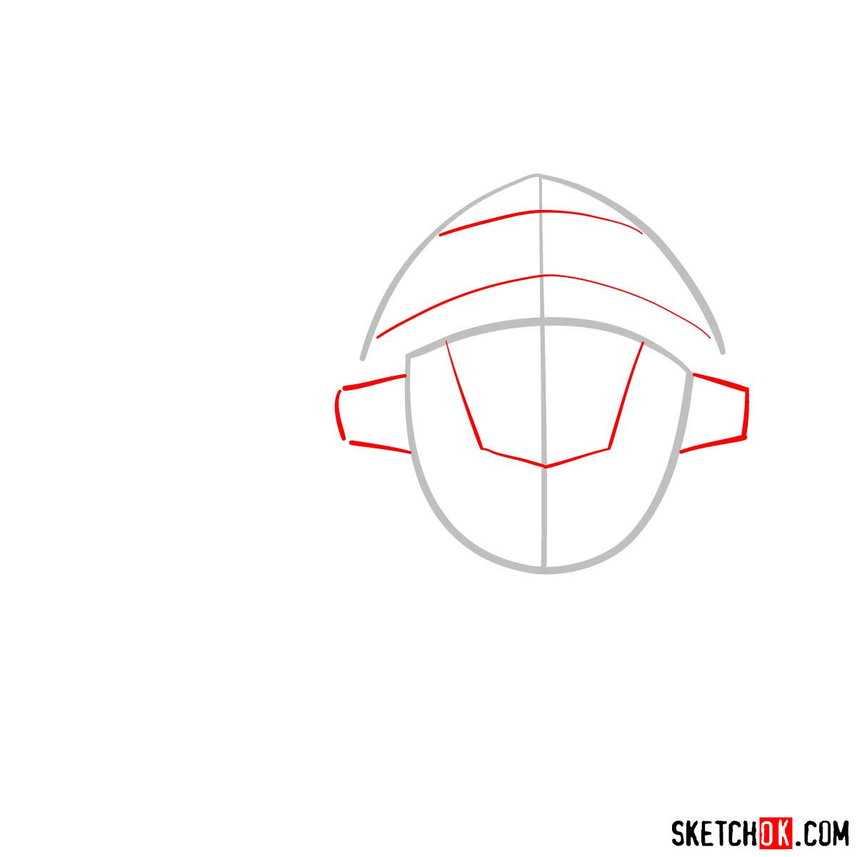 How to draw the head of Goblin Slayer - step 02