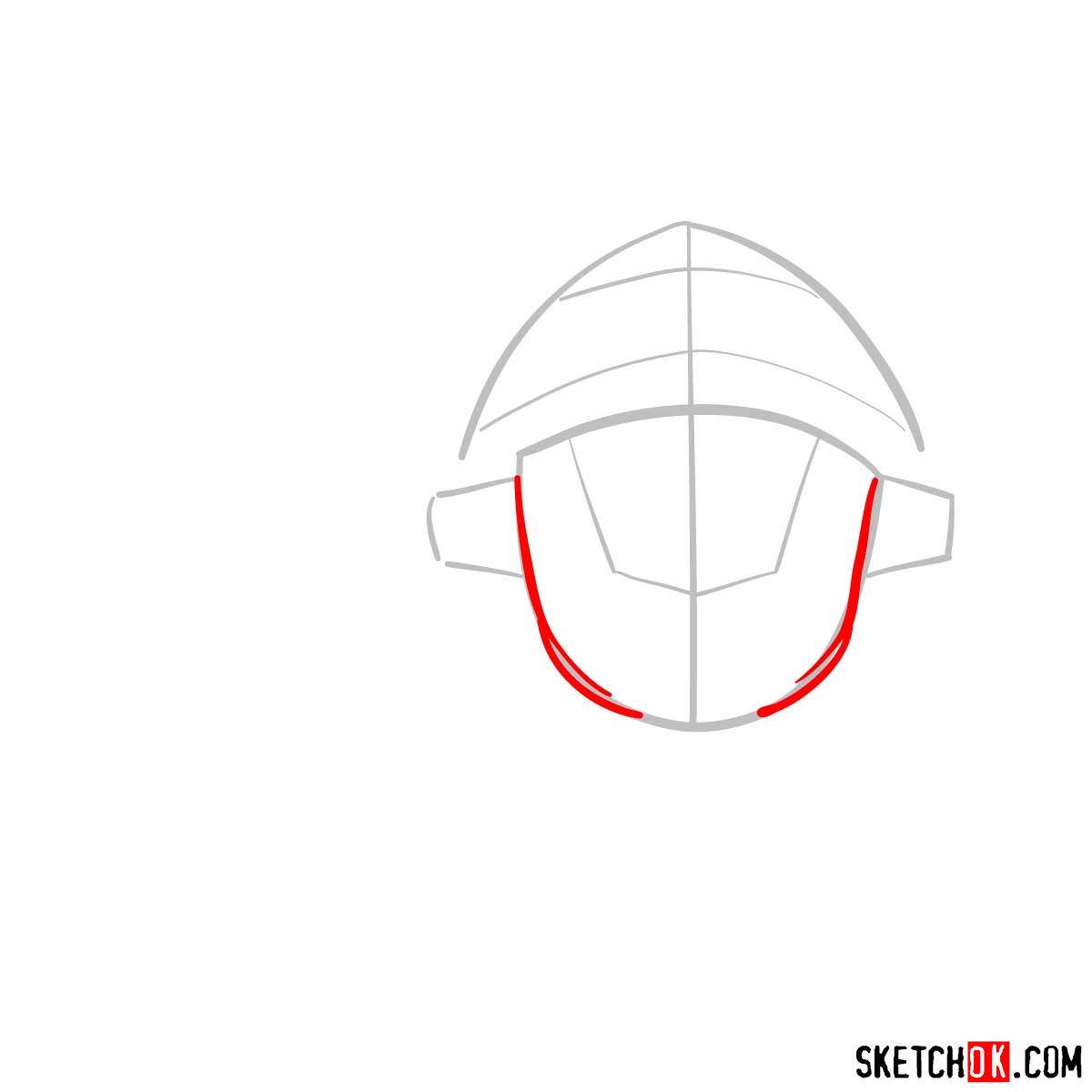How to draw the head of Goblin Slayer - step 03