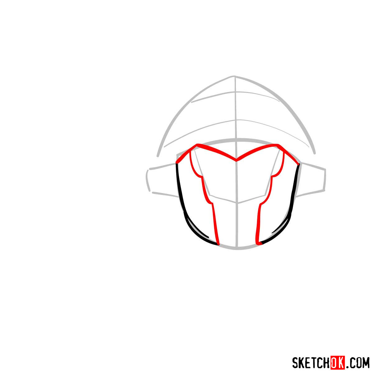 How to draw the head of Goblin Slayer - step 04