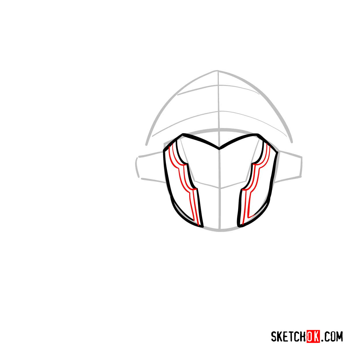 How to draw the head of Goblin Slayer - step 05