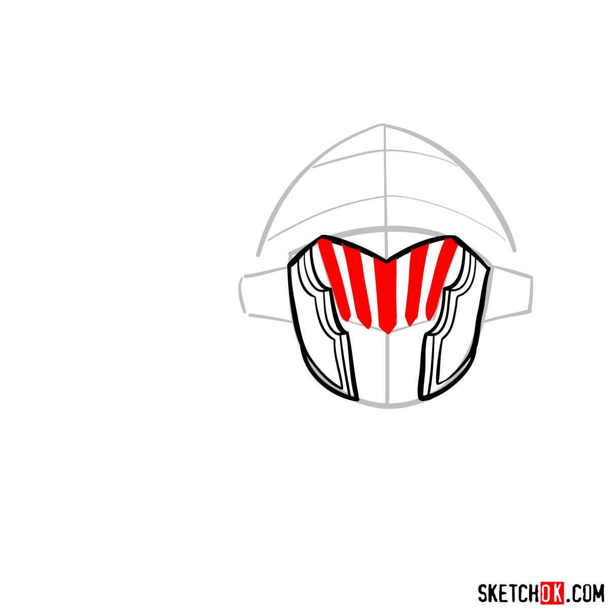 How to draw the head of Goblin Slayer - step 06