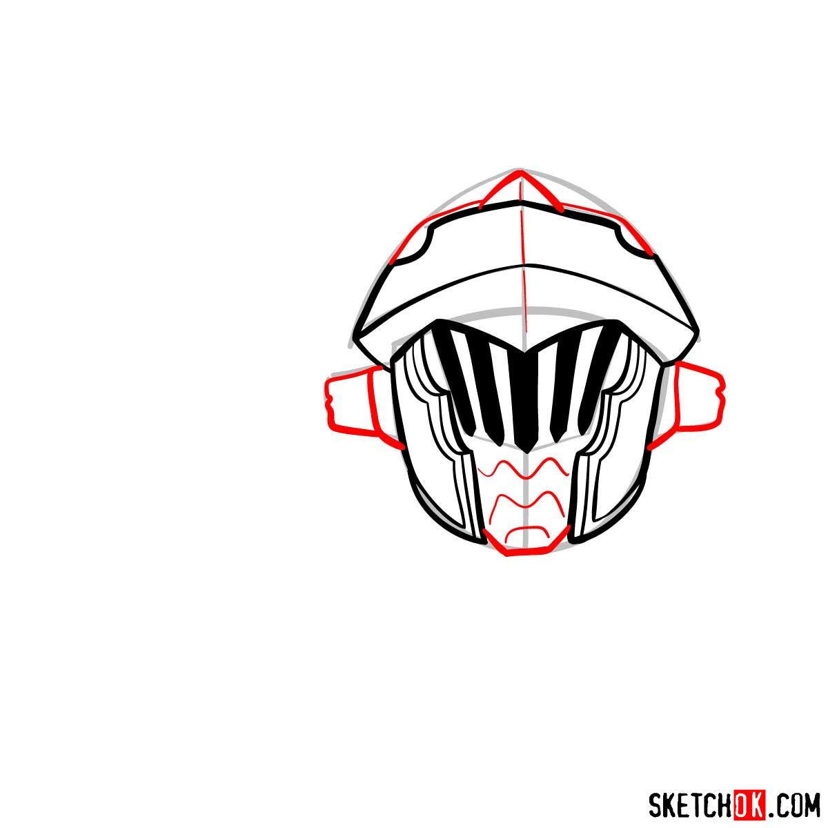 How to draw the head of Goblin Slayer - step 08