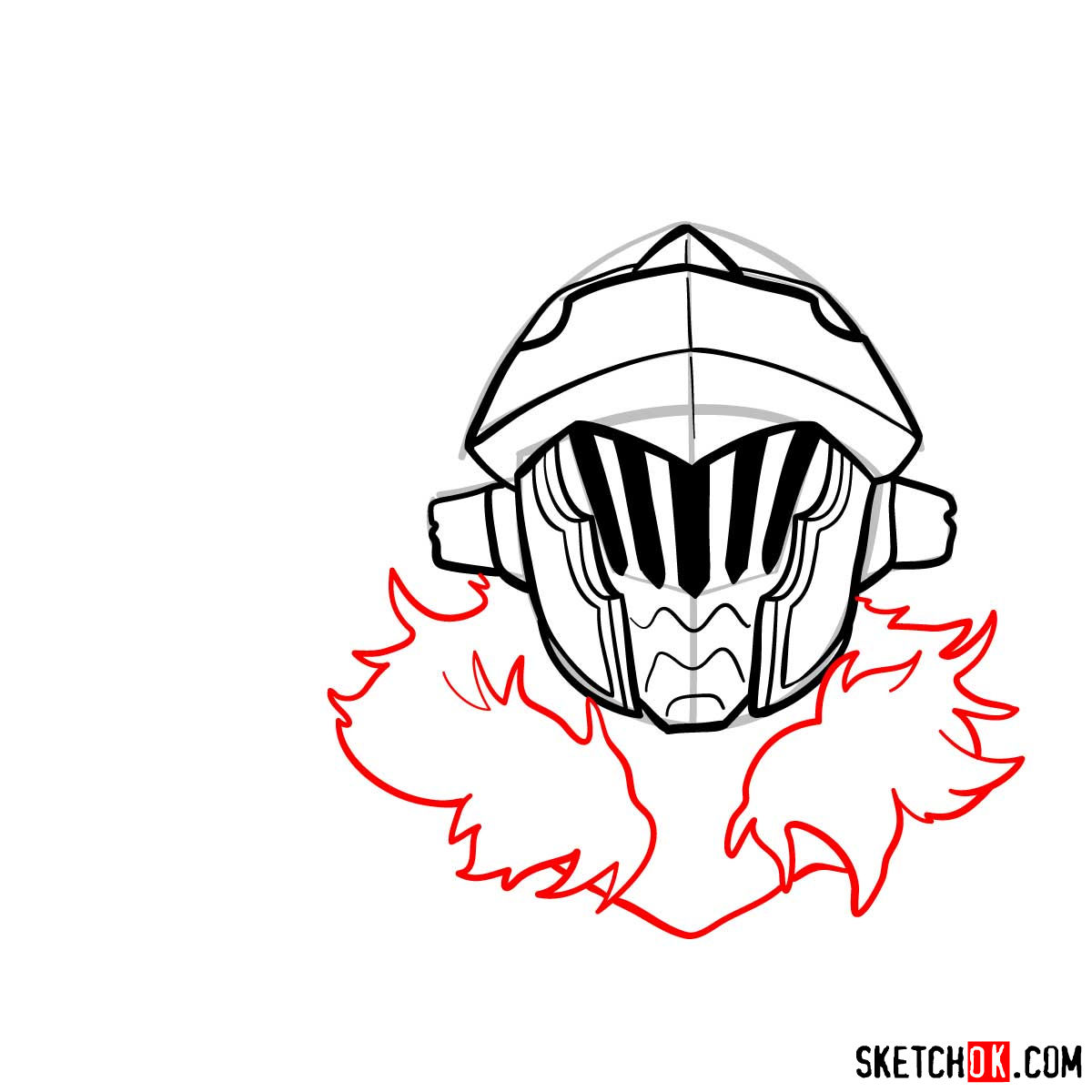 How to draw the head of Goblin Slayer - step 09