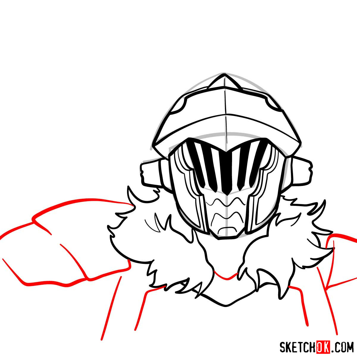 How to draw the head of Goblin Slayer - step 10