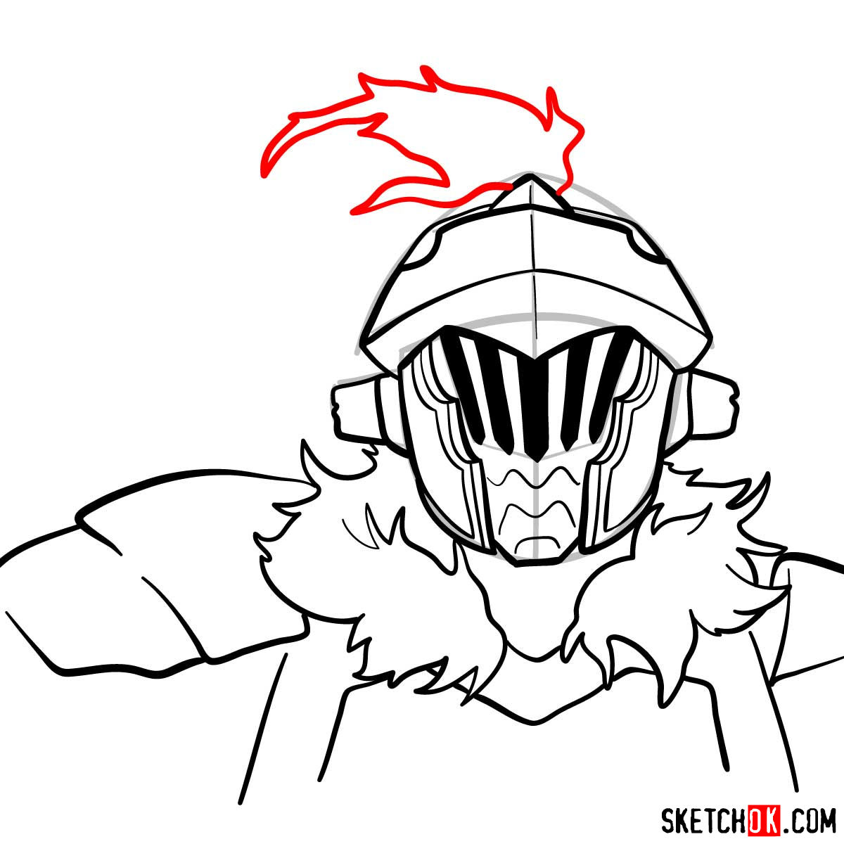 How to draw the head of Goblin Slayer - step 11