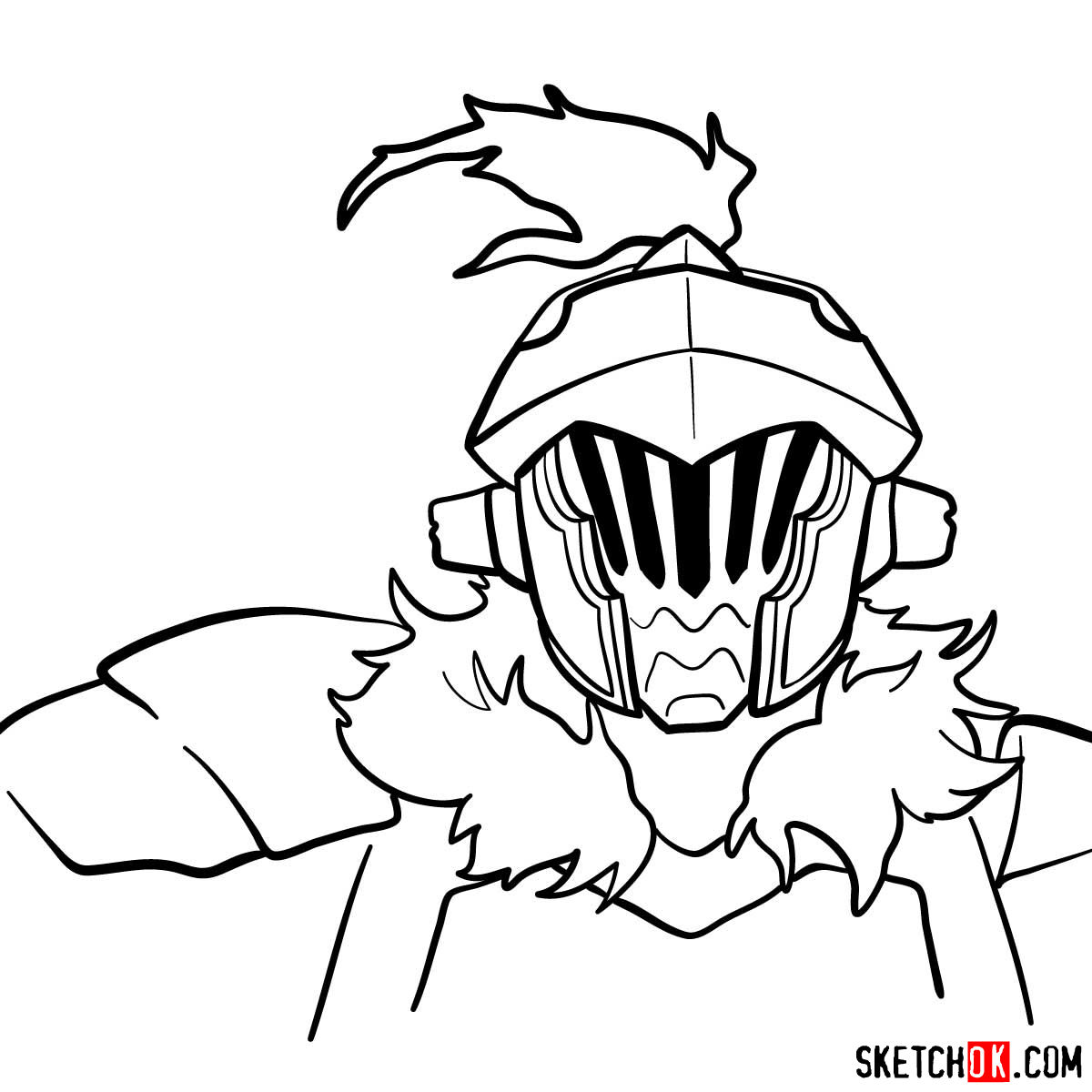 How to draw the head of Goblin Slayer - step 12