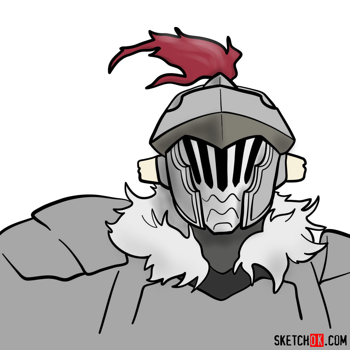 How to draw the head of Goblin Slayer - coloring