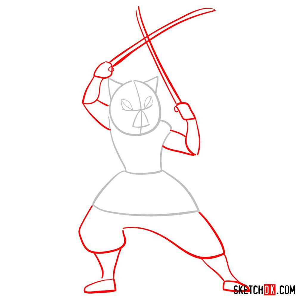 How to draw Inosuke Hashibira   Demon Slayer - step 02