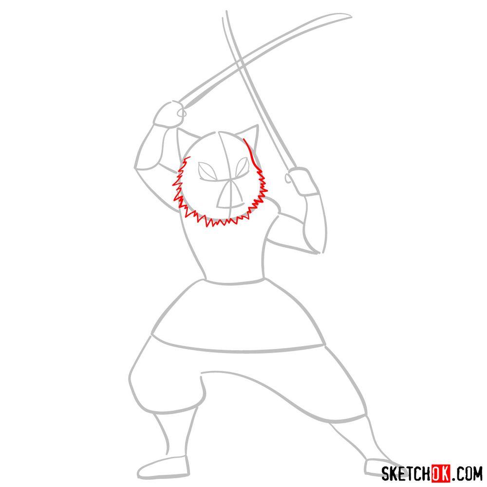 How to draw Inosuke Hashibira   Demon Slayer - step 03