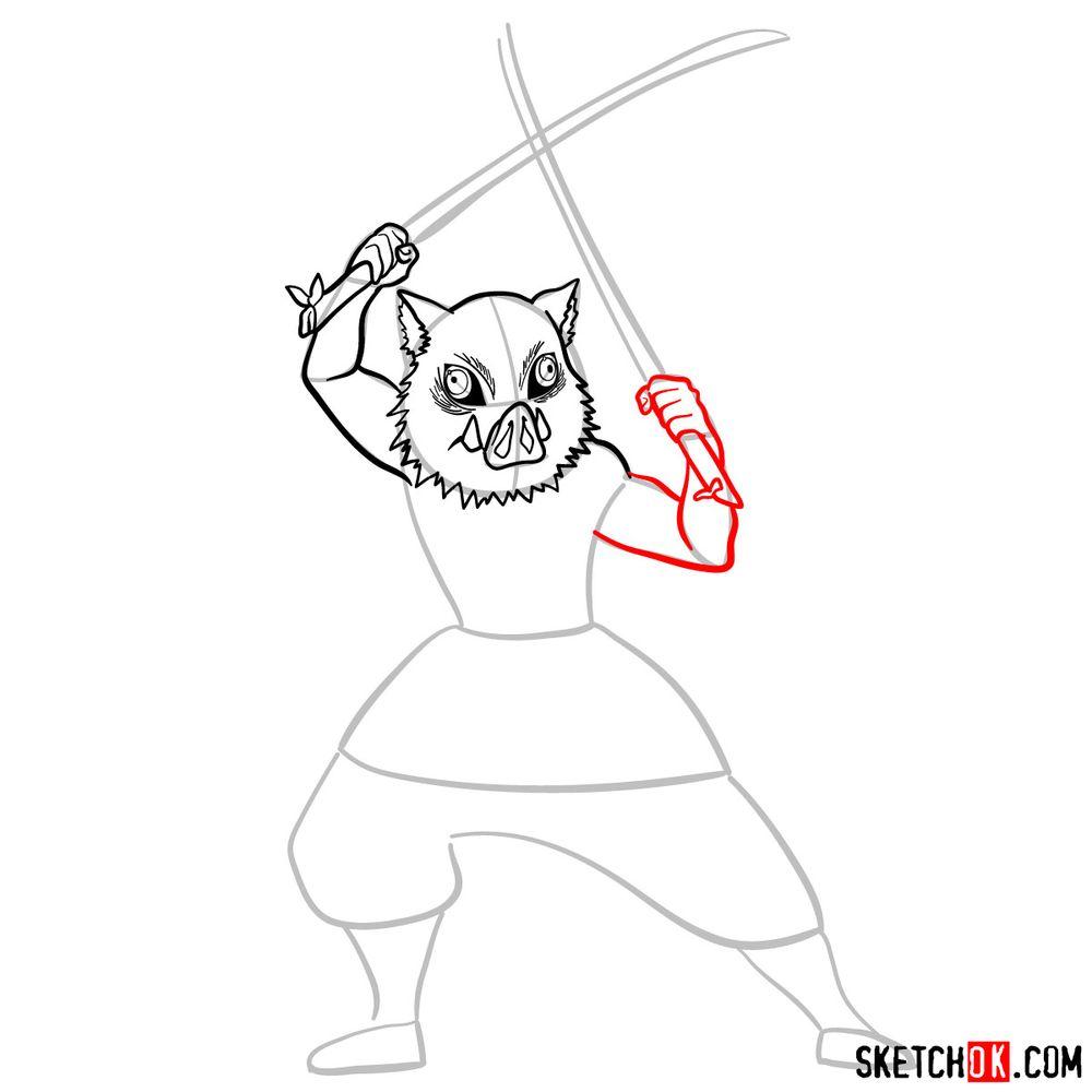 How to draw Inosuke Hashibira   Demon Slayer - step 08