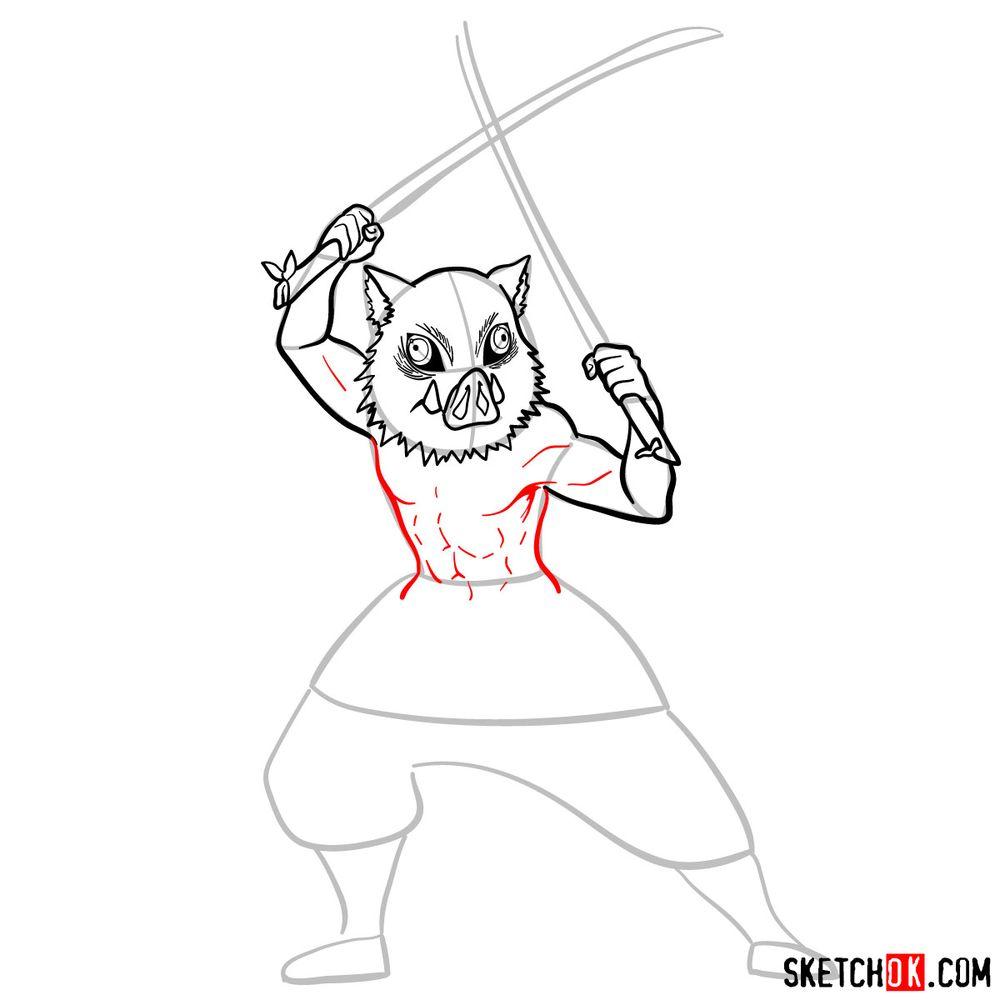 How to draw Inosuke Hashibira   Demon Slayer - step 09