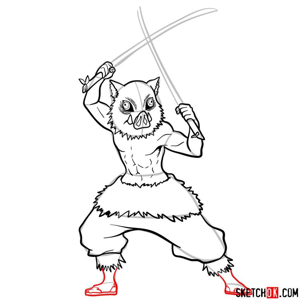 How to draw Inosuke Hashibira   Demon Slayer - step 12