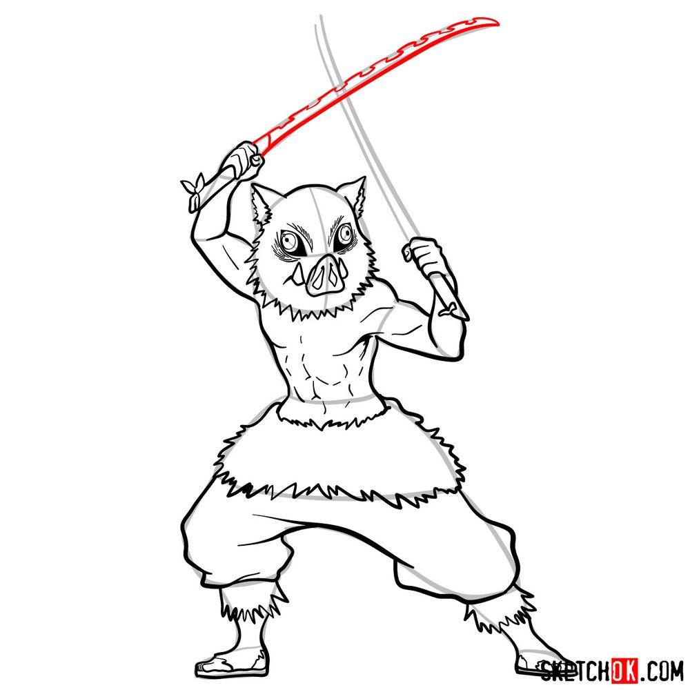 How to draw Inosuke Hashibira   Demon Slayer - step 13