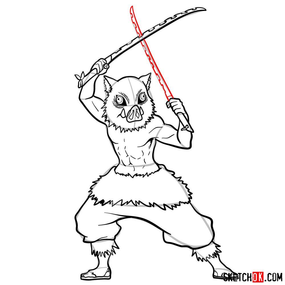 How to draw Inosuke Hashibira   Demon Slayer - step 14