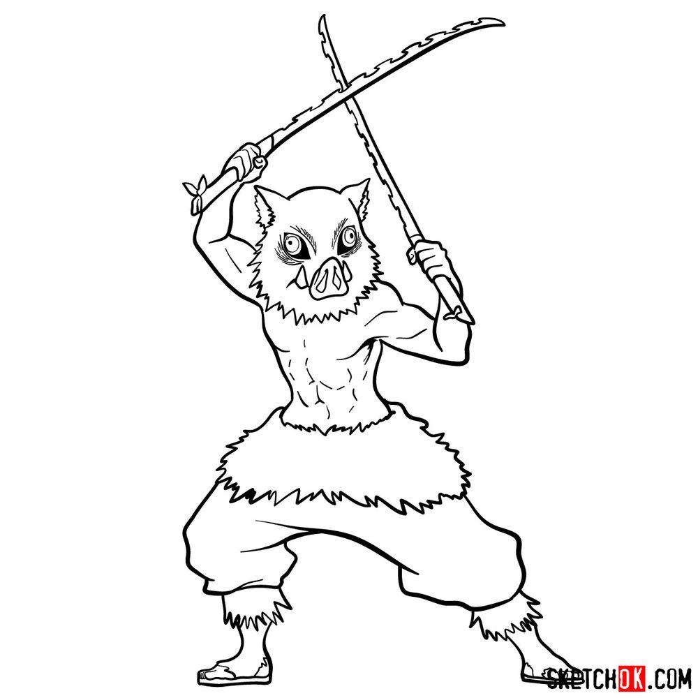 How to draw Inosuke Hashibira   Demon Slayer - step 15