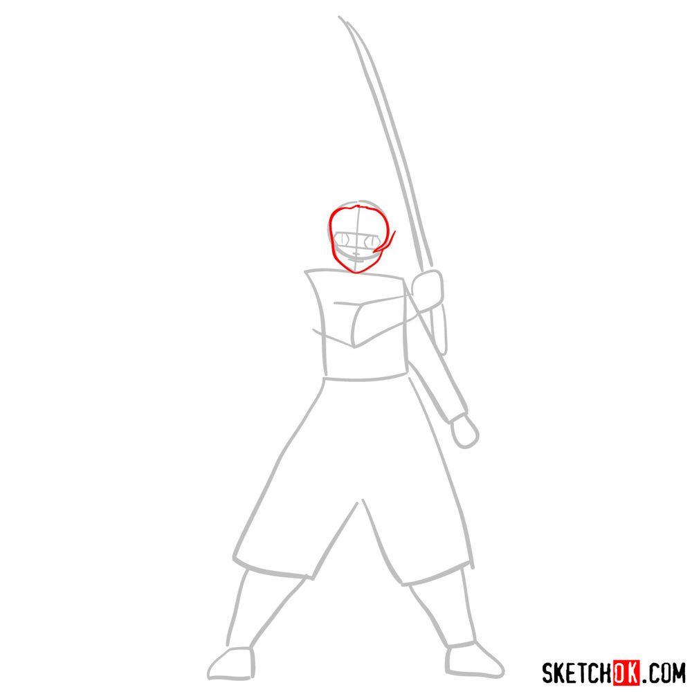 How to draw Tanjiro Kamado   Demon Slayer - step 02