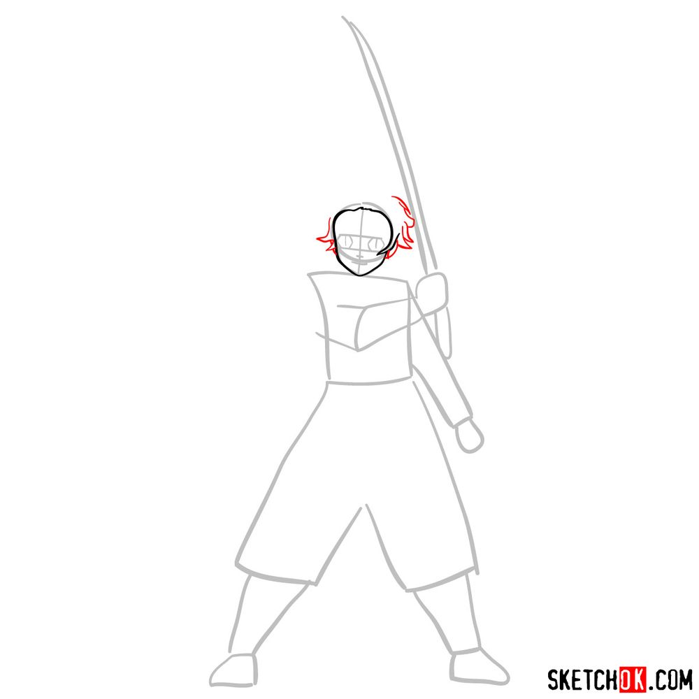 How to draw Tanjiro Kamado   Demon Slayer - step 03