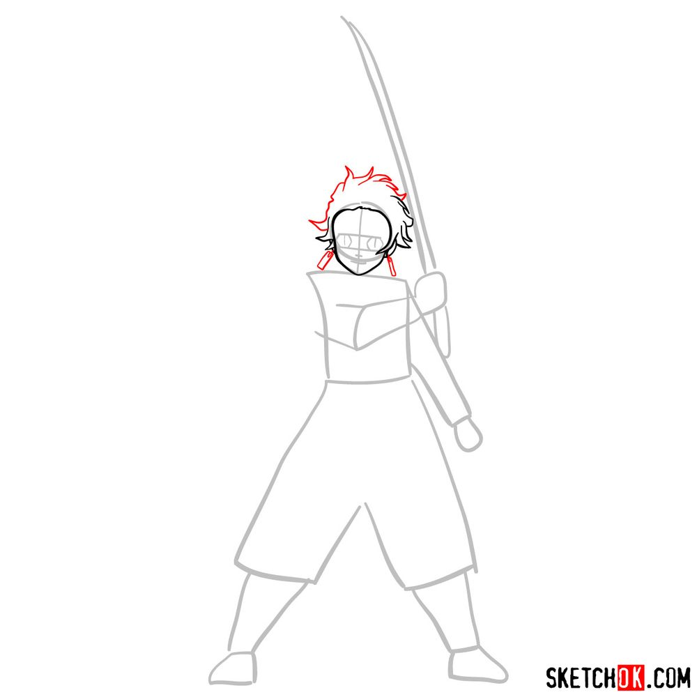 How to draw Tanjiro Kamado   Demon Slayer - step 04