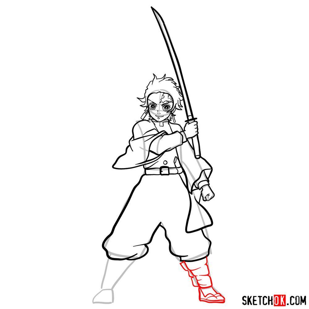 How to draw Tanjiro Kamado   Demon Slayer - step 15