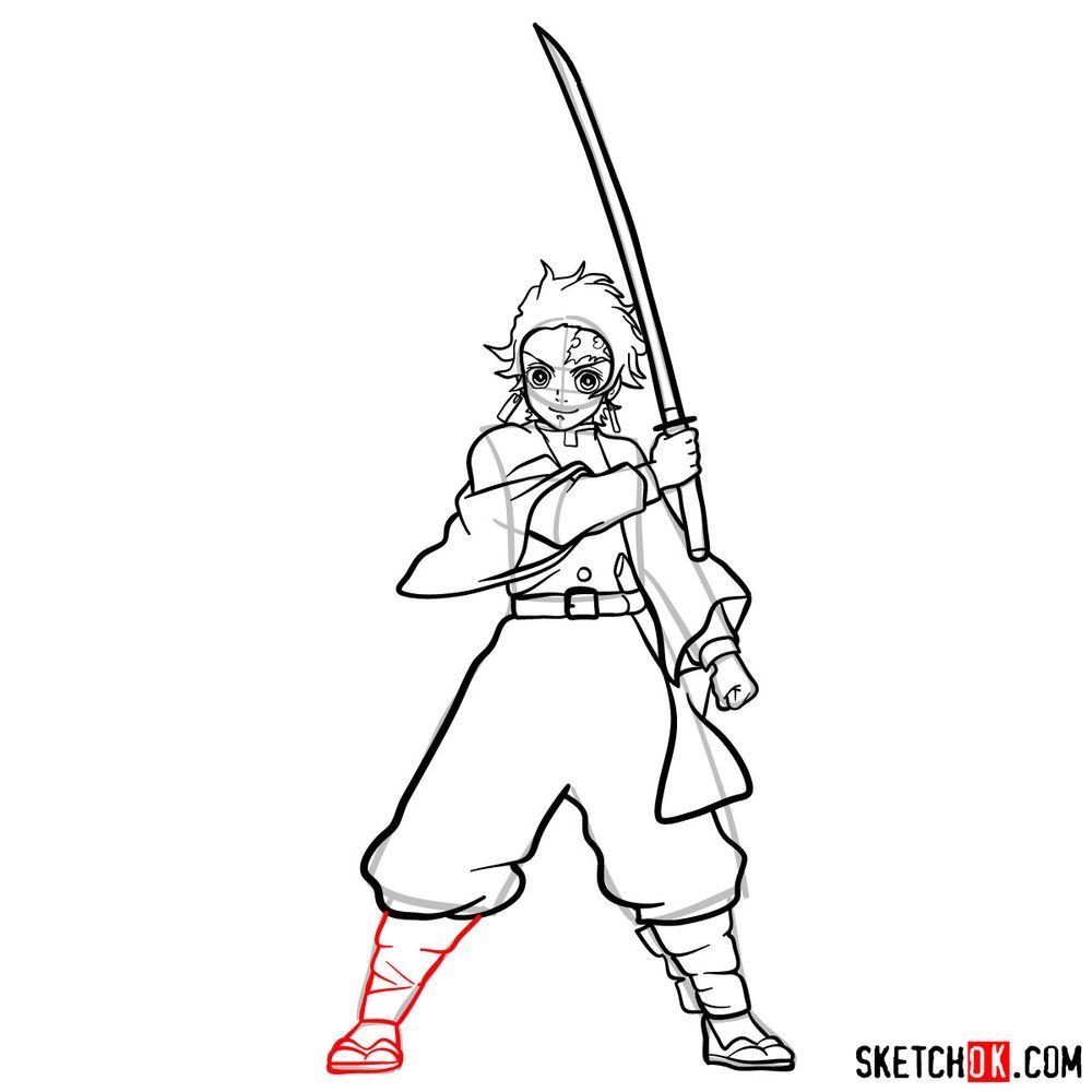 How to draw Tanjiro Kamado   Demon Slayer - step 16