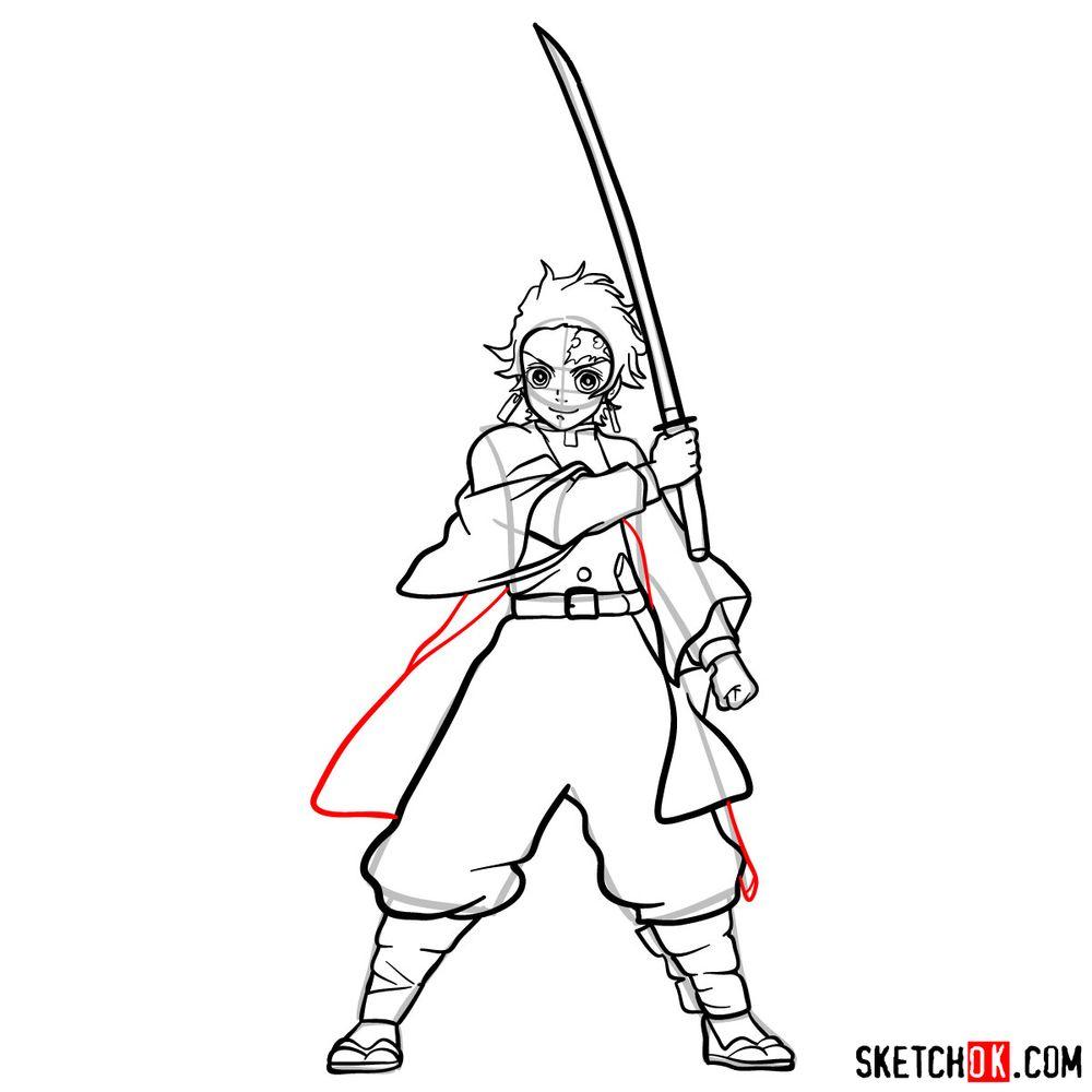 How to draw Tanjiro Kamado   Demon Slayer - step 17