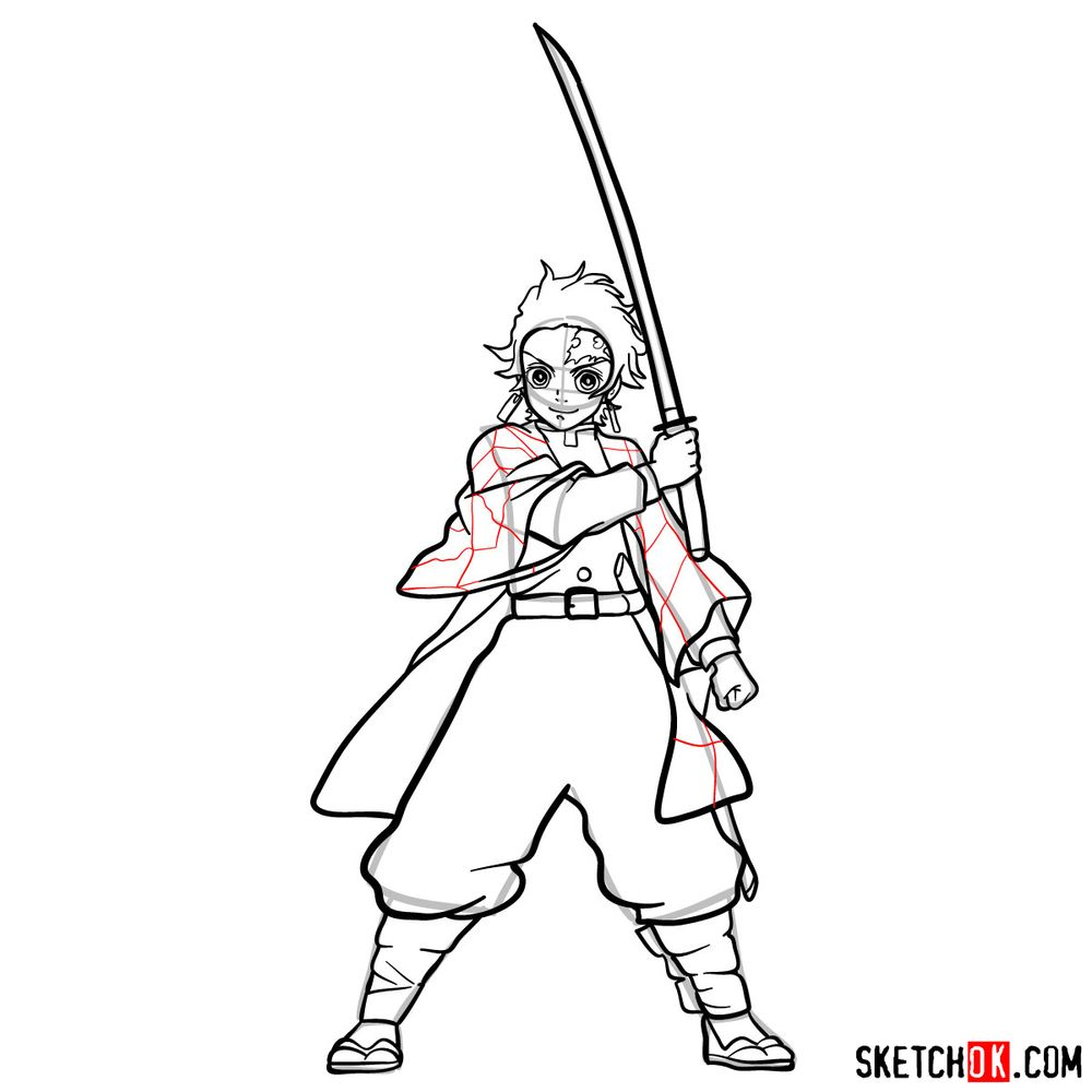 How to draw Tanjiro Kamado   Demon Slayer - step 18