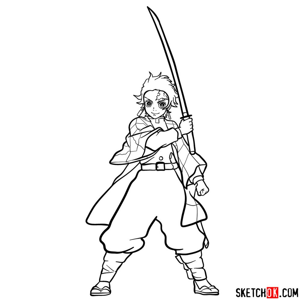 How to draw Tanjiro Kamado   Demon Slayer - step 19