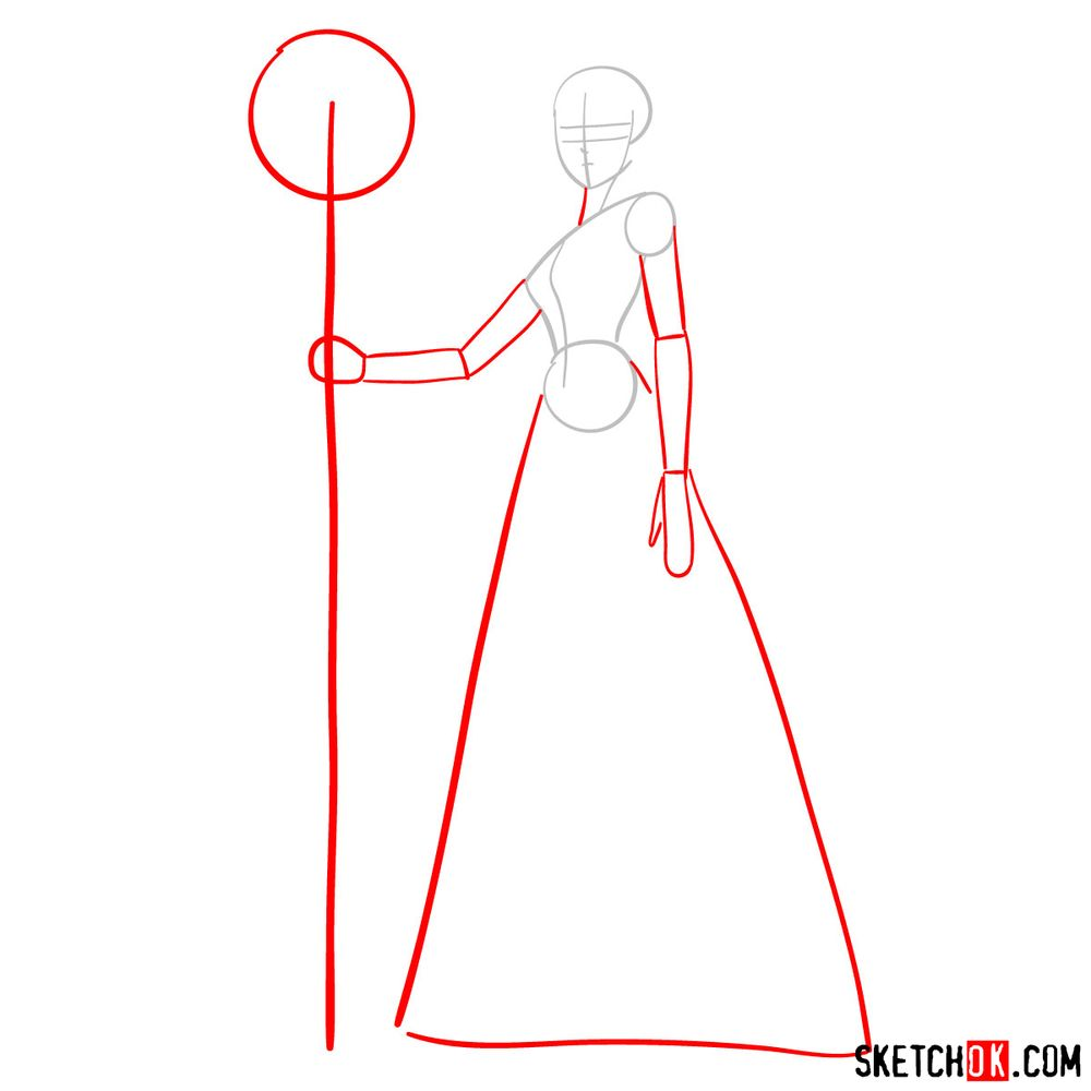 How to draw Saori Kido (Athena) - step 02