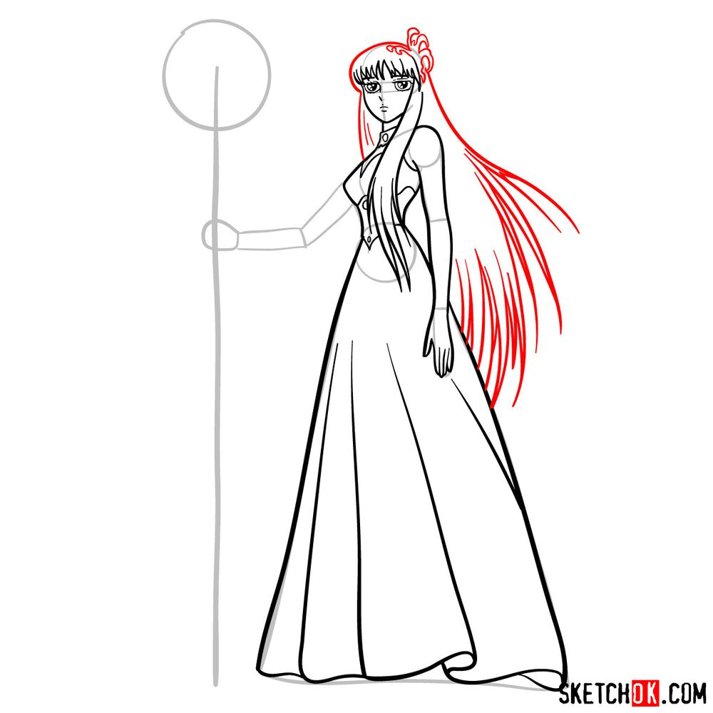 How to draw Saori Kido (Athena) - step 09