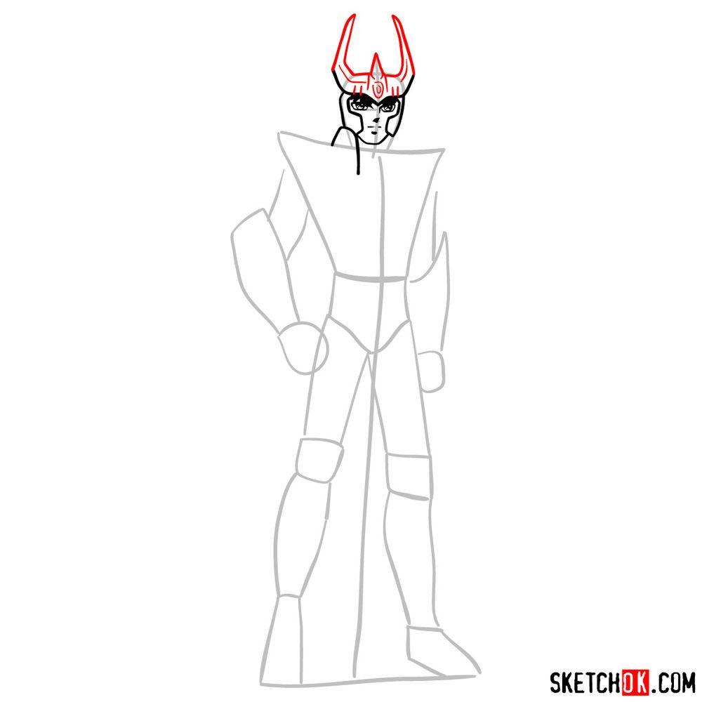 How to draw Phoenix Ikki - step 06