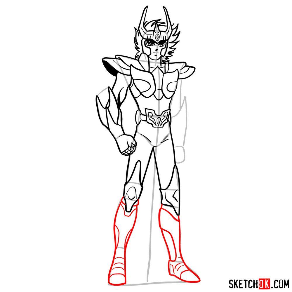 How to draw Phoenix Ikki - step 14