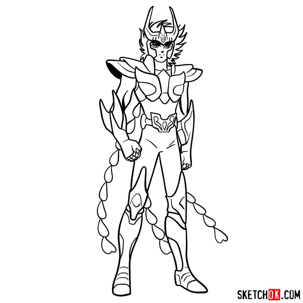 How to draw Phoenix Ikki - step 17