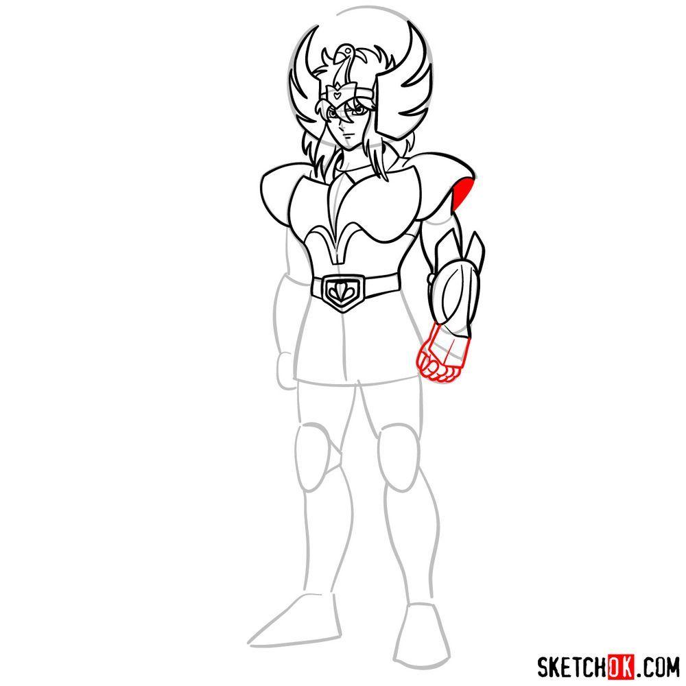 How to draw Cygnus Hyoga from Saint Seiya - step 11