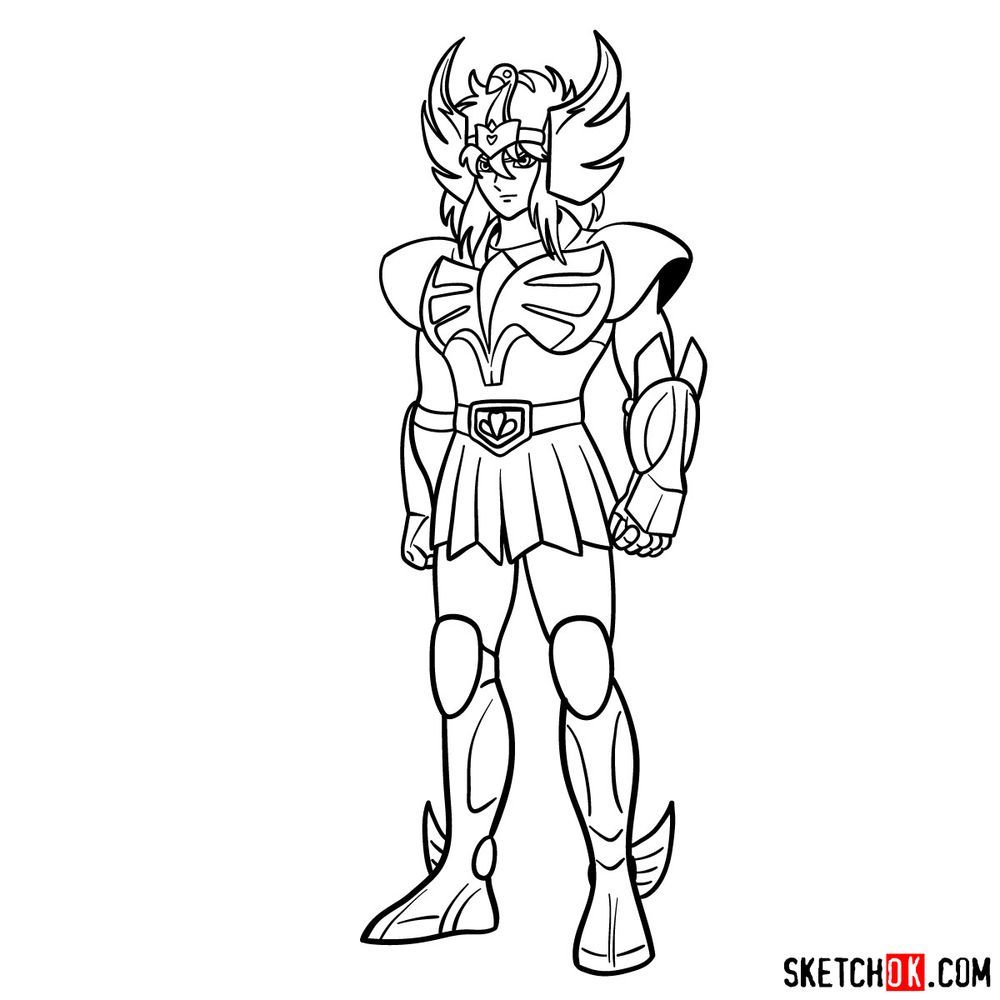How to draw Cygnus Hyoga from Saint Seiya - step 18