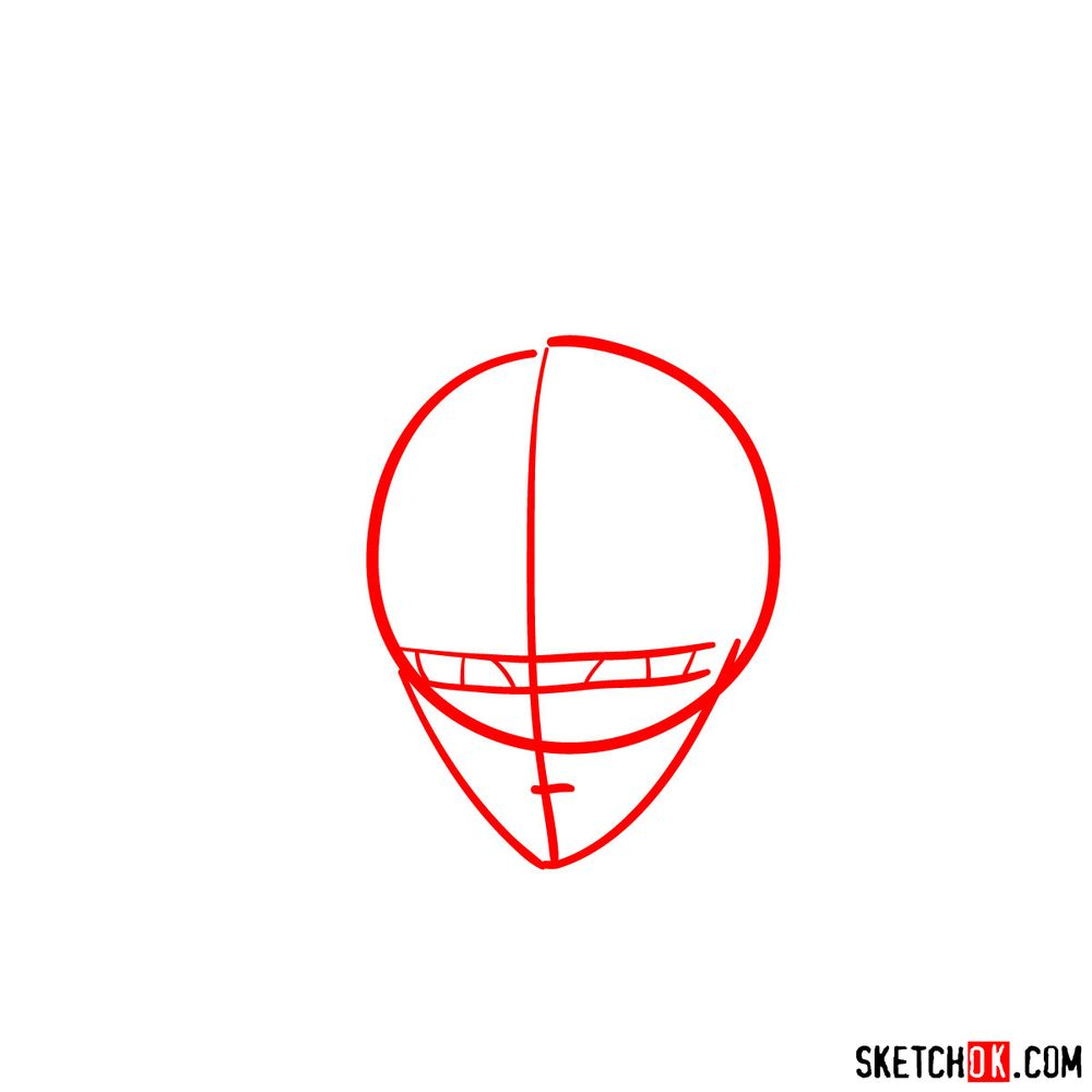 How to draw Shiryu's face (Saint Seiya) - step 01