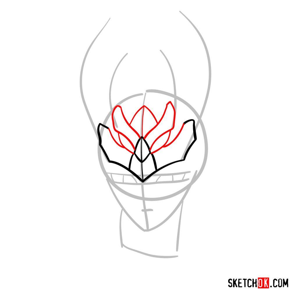 How to draw Shiryu's face (Saint Seiya) - step 04